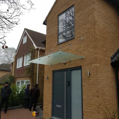 Suspended Modern Glass Door Canopy T2
