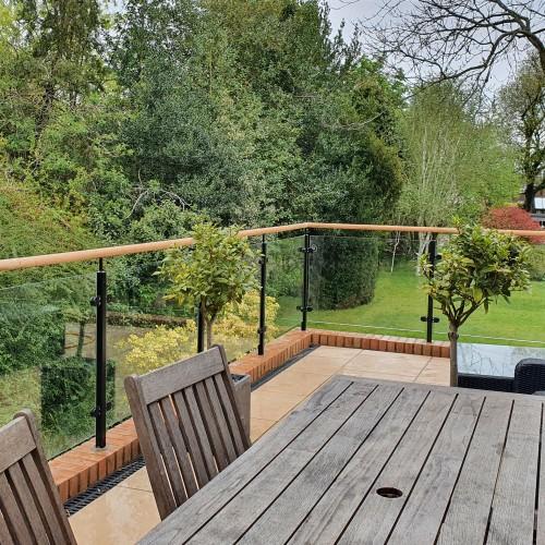 Powdercoated Steel Glass Balustrade + Wooden Handrail System 5