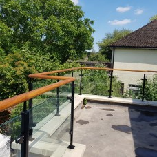 Powdercoated Steel Glass Balustrade + Wooden Handrail System 5