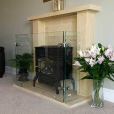 Glass Fireplace Guard Surround